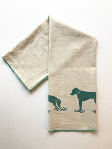 Two Dogs Block Printed Handmade Tea Towel-100% cotton kitchen towel