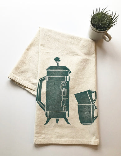 Seattle French Press Block Printed Flour Sack Towel-100% cotton