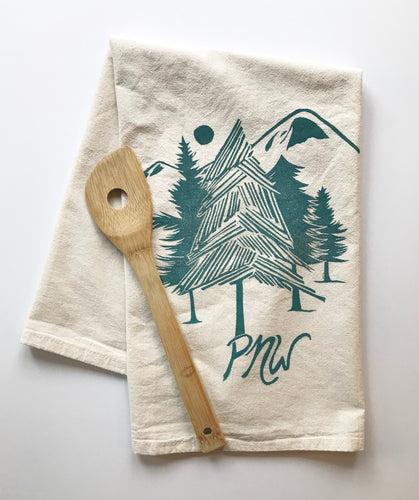 Pacific Northwest Design Block Printed Flour Sack Towel-100% cotton