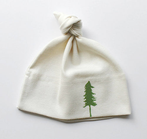 Evergreen Tree Organic Cotton Tie Hat for Infants