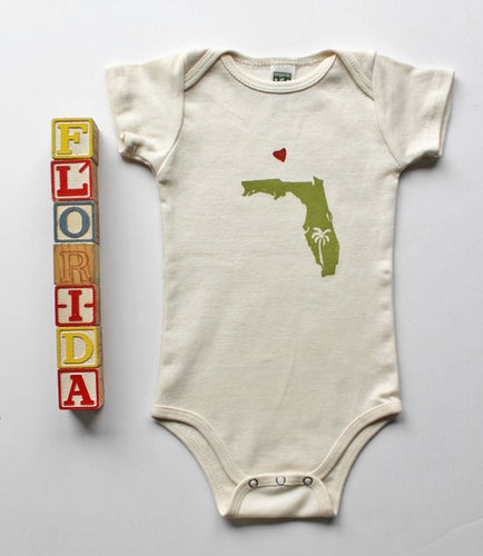 Florida Love Organic Cotton Infant One Piece Bodysuit-Handprinted