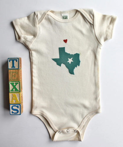 With Love from Texas Organic Cotton Infant One Piece Bodysuit-Handprinted in the Pacific Northwest