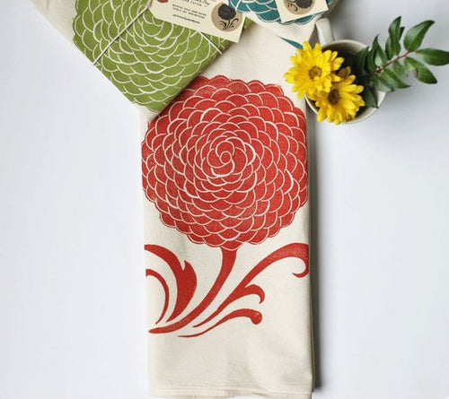 Mum Block Printed Flour Sack Towel-100% cotton