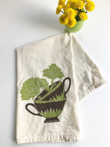 Teacup Two Color Block Print Flour Sack Towel-100% cotton