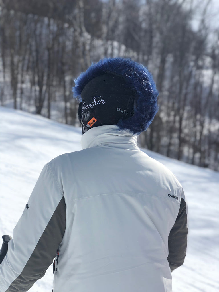 Midnight Blue  fur ski helmet cover - Mohawk