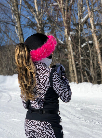 Crazy Pink fur ski helmet cover - Halo