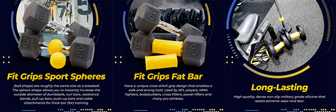 Fit Grips Images in Use on Dumbells and Barbells