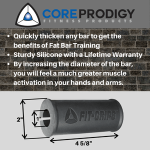 Fit Grips 2.0 - Silicone Fat / Thick Bar Training - Core Prodigy