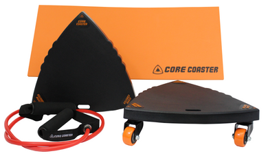 Core Coaster Starter - ab wheel - roller dolly slider exercise with band and knee mat