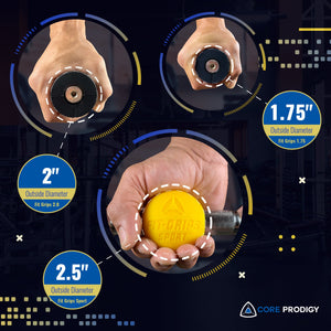 Fat grip size comparison between 2 inch, 1.75 inch and 2.5 inch ball by Core Prodigy