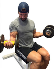 Julian Smith bicep dumbbell curl with the Fit Gripz