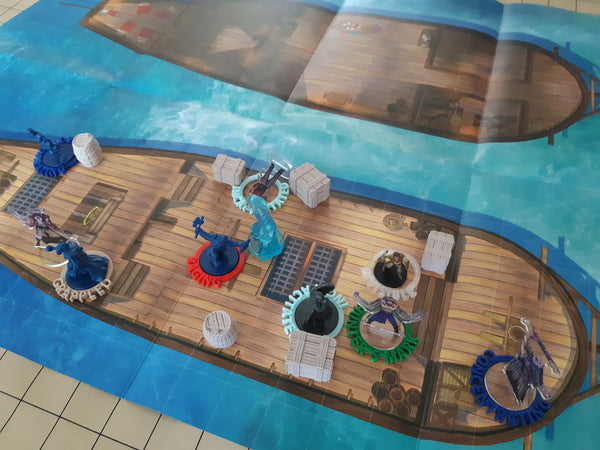dnd minatures on a ship