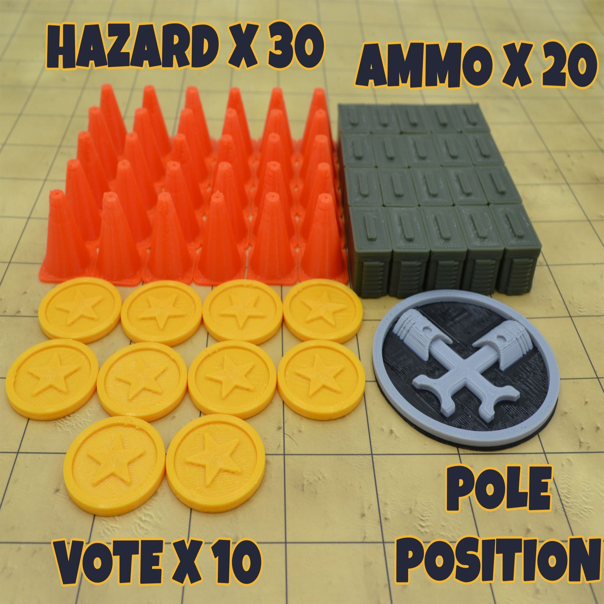 Gaslands Token Set - 61 Pieces - Gaslands  Refueled - Wildbot3d