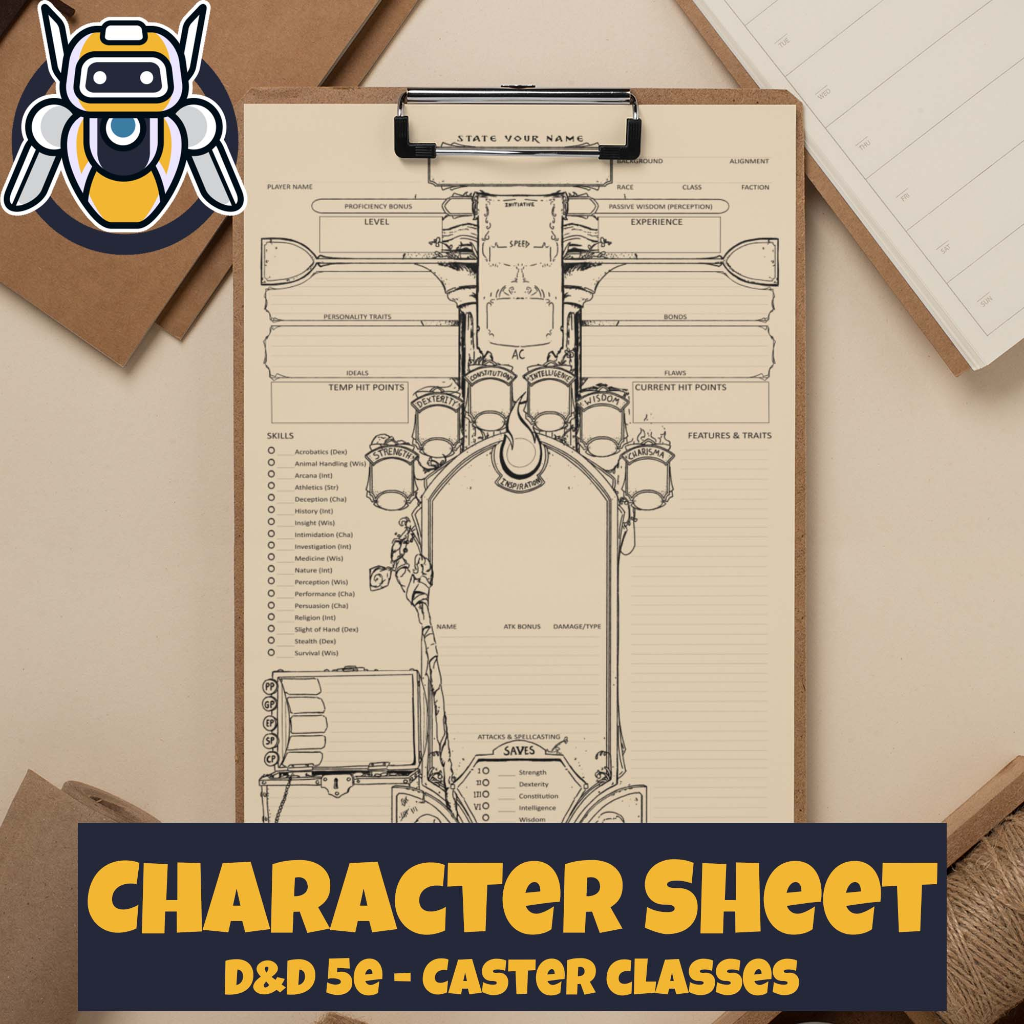 Custom Character Sheet - Dungeons and Dragons - D&D5e - Caster Theme - Wildbot3d