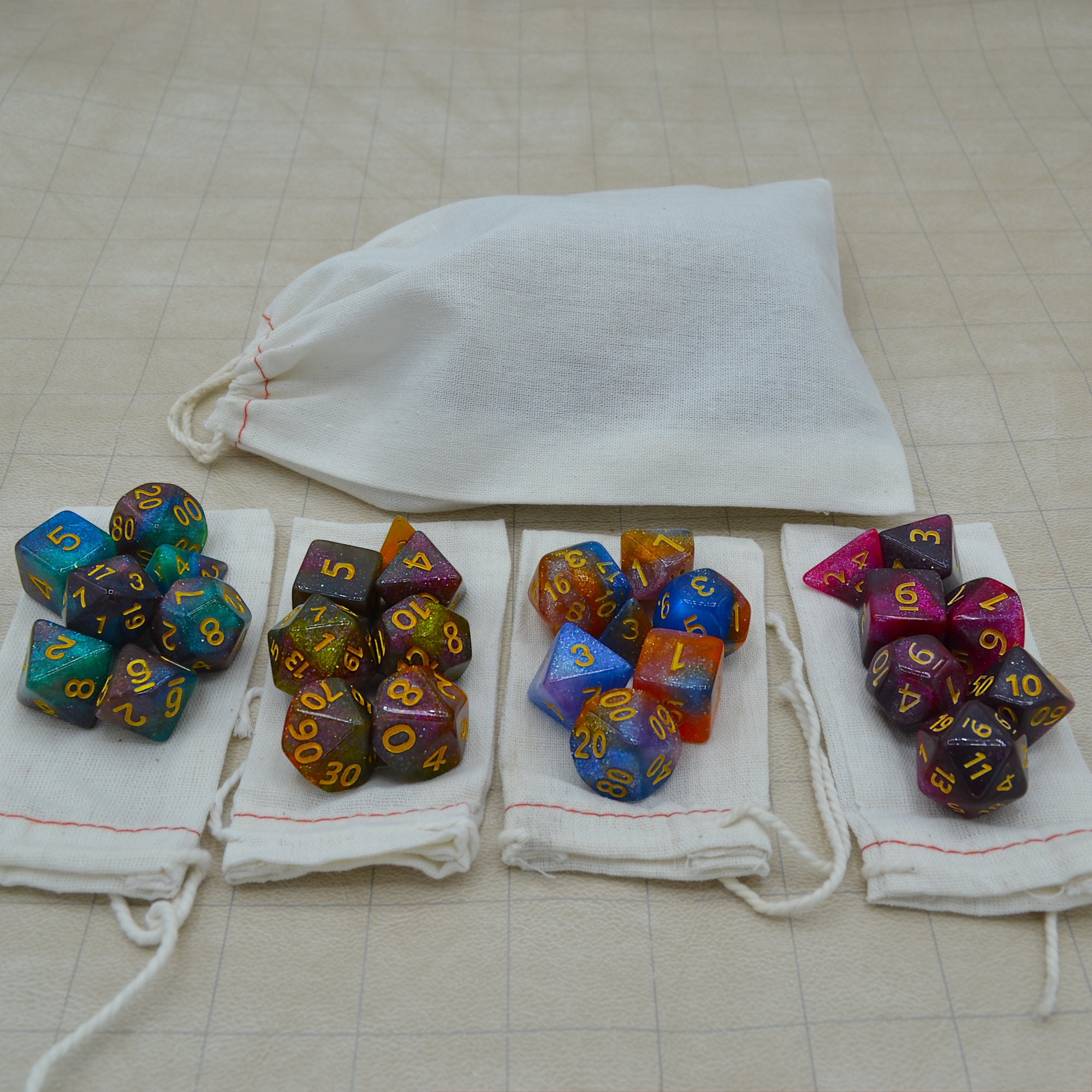 Four Sets of Galaxy Glitter Dice - 7 Dice Per Set - 28 Dice Total - Wildbot3d
