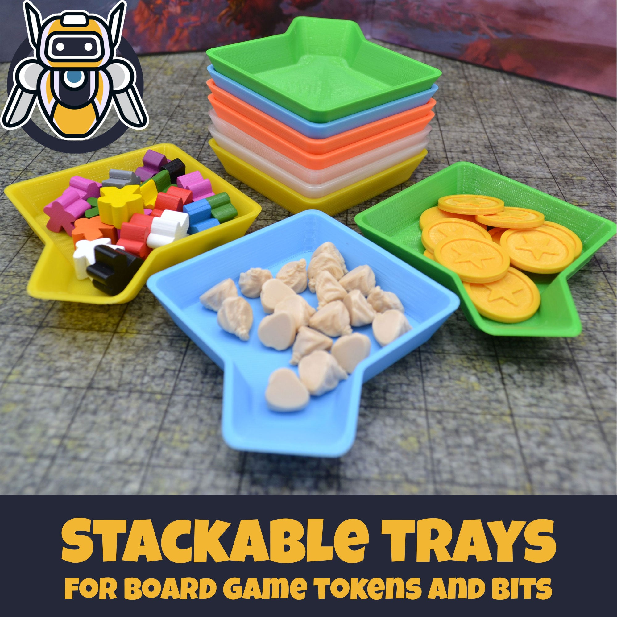 Stackable Board Game Bits Organizer Trays - Set of 10