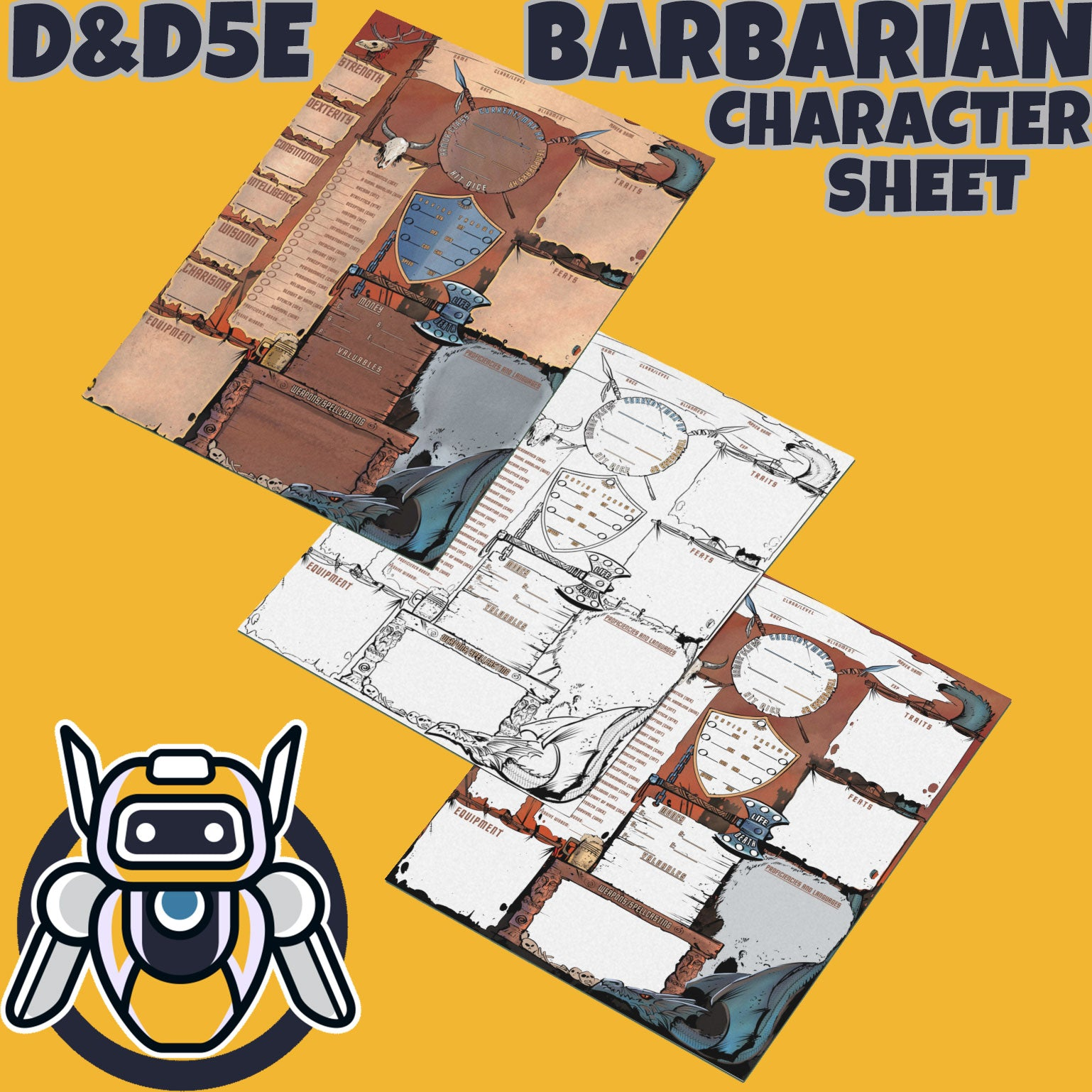 barbarian character sheet three versions