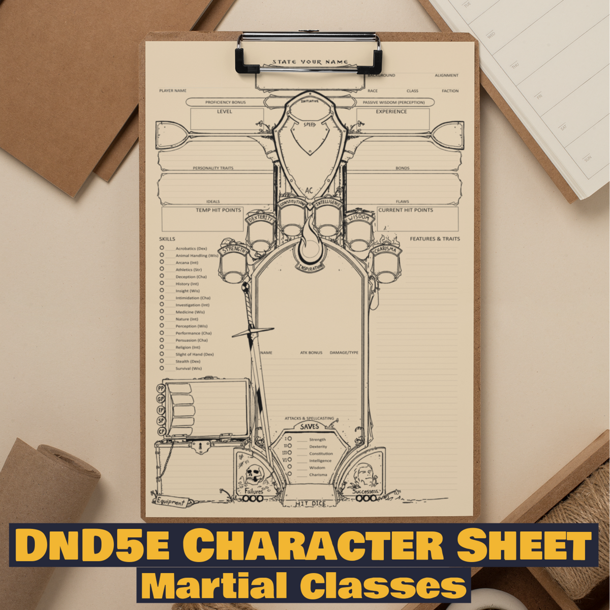 Custom Character Sheet - D&D5e - Martial Theme - Wildbot3d