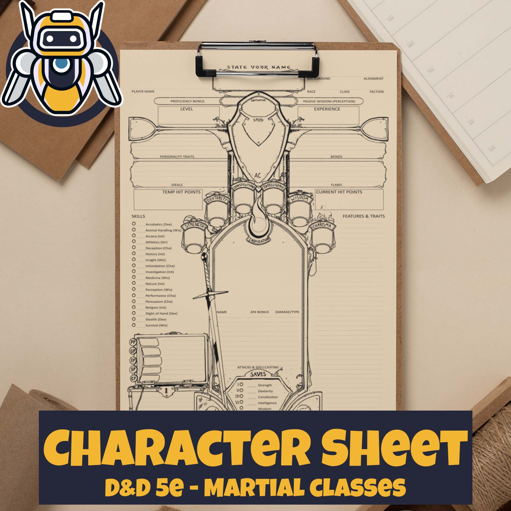Custom Character Sheet - Dungeons and Dragons - D&D5e - Martial Theme - Wildbot3d