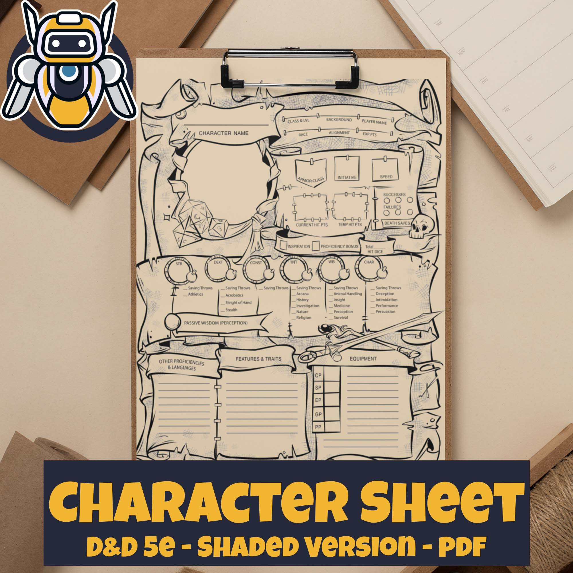 Dungeons and Dragons 5e Character Sheet Printable PDF - Instant Download - Wildbot3d