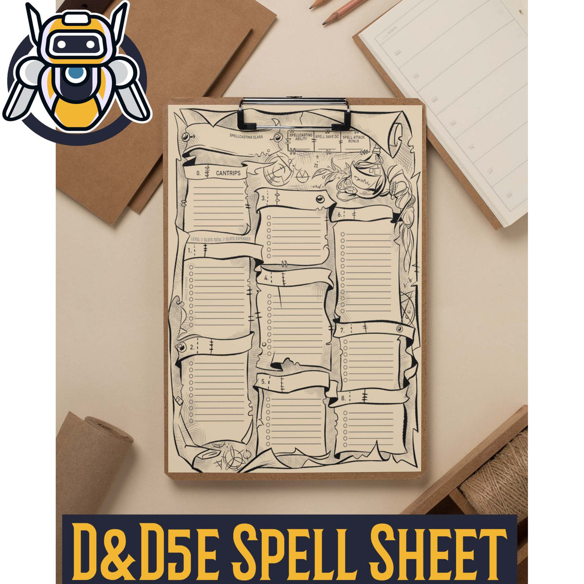 Spell Sheet for Dungeons and Dragons 5e Printable PDF - Wildbot3d
