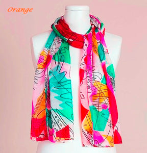 Geometric Print Silk Scarf by Vivante