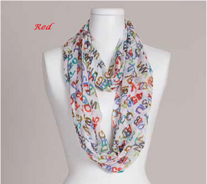Alphabet Design Infinity Loop Scarf by Vivante