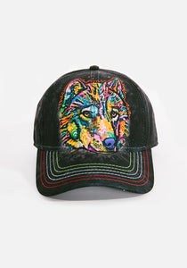 Unisex Ball Cap, Happy Wolf by Dean Russo