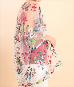 Floral Embroidered Sheer Kimono by Umgee