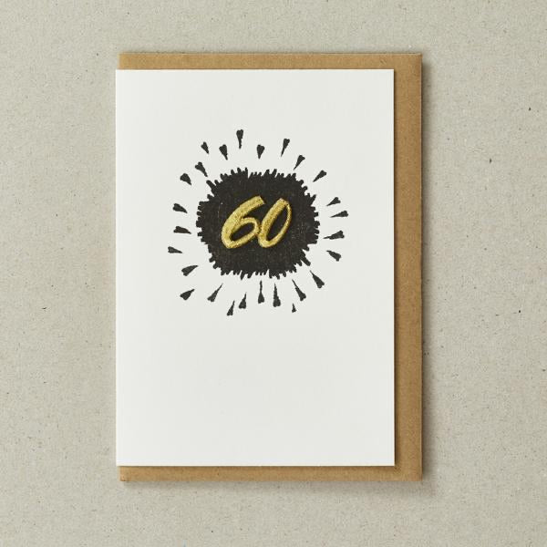 Embroidered Age Card - Age 60 (Black)