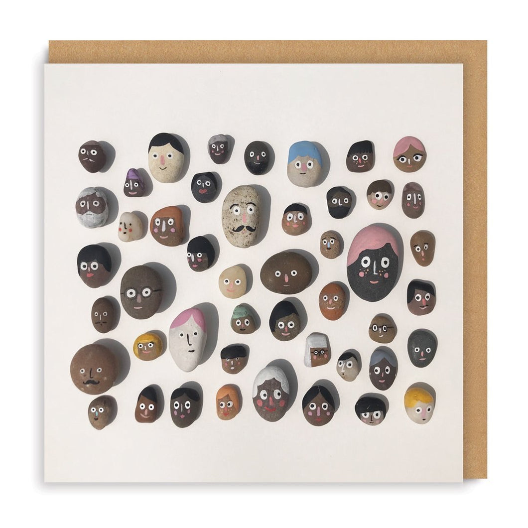 Stone Faces Square Card