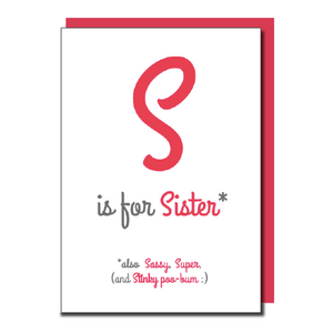 'S is for Sister' card