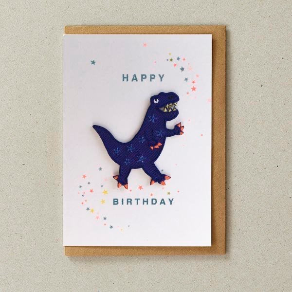 Blue Dinosaur Patch Birthday Card