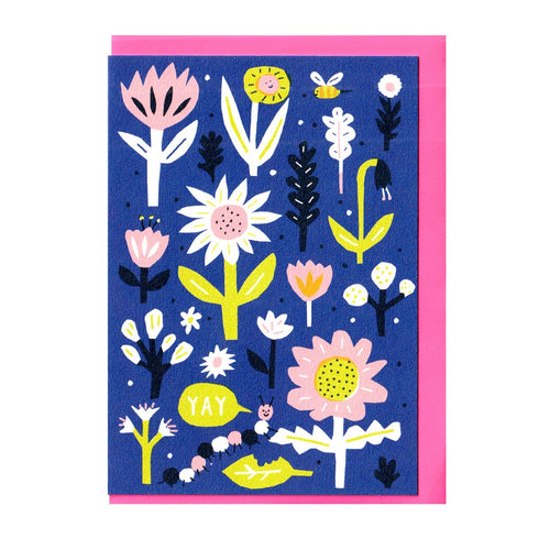 Caterpillar in Flowers Card