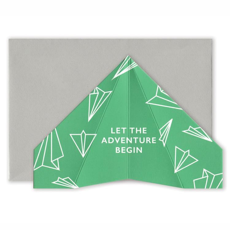 Paper Plane Card - Let The Adventure Begin