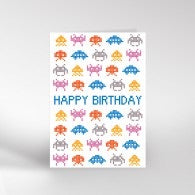Space Invaders Birthday Card