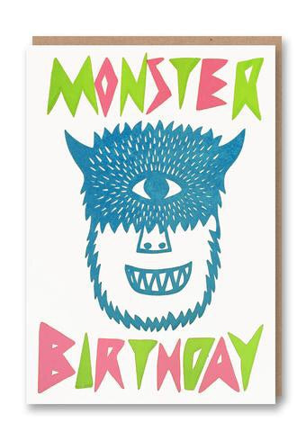 'Monster Birthday' Letterpress Card