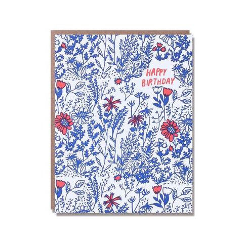 'Happy Birthday' wild floral card