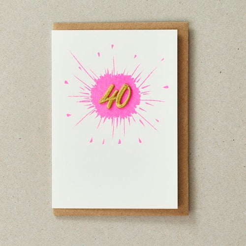Embroidered Age Card - Age 40 (Pink)