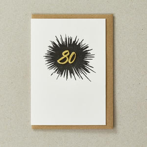 Embroidered Age Card - Age 80 (Black)