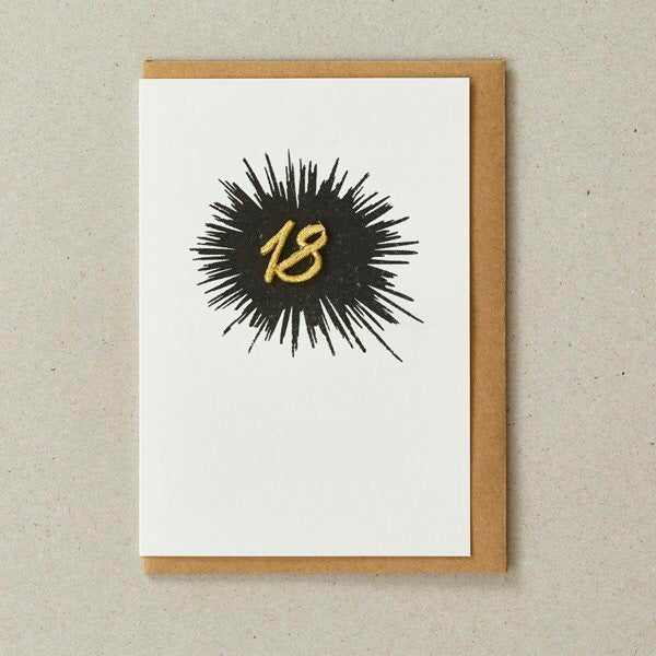 Embroidered Age card - 18 (Black)