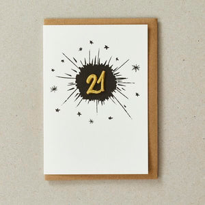 Embroidered Age Card - Age 21 (Black)