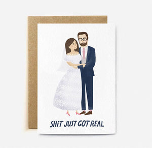 'Shit just got real' Wedding card