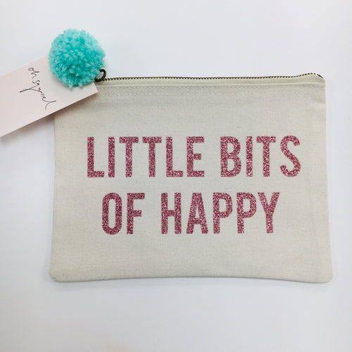 'Little Bits Of Happy' Pouch Rose Gold
