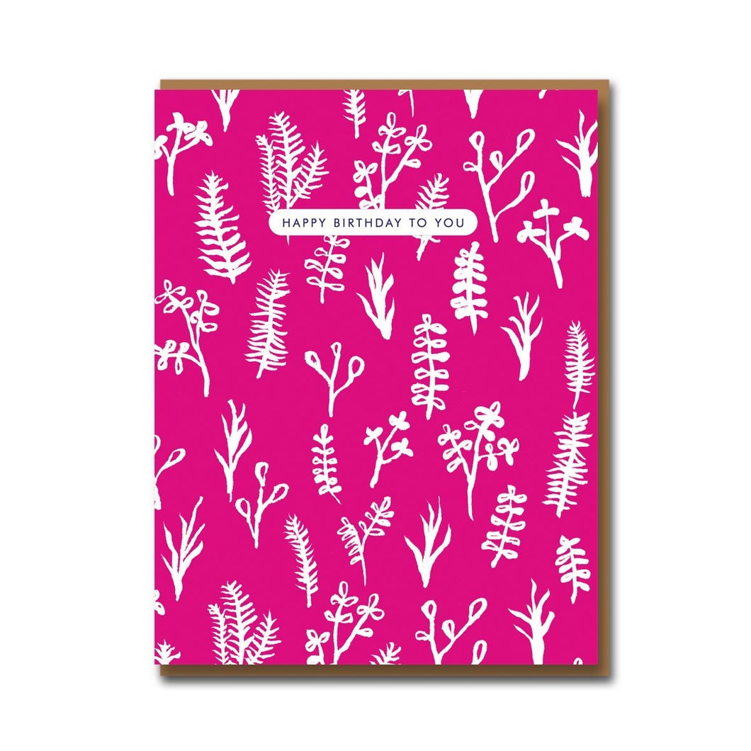 'Happy Birthday' pink floral card
