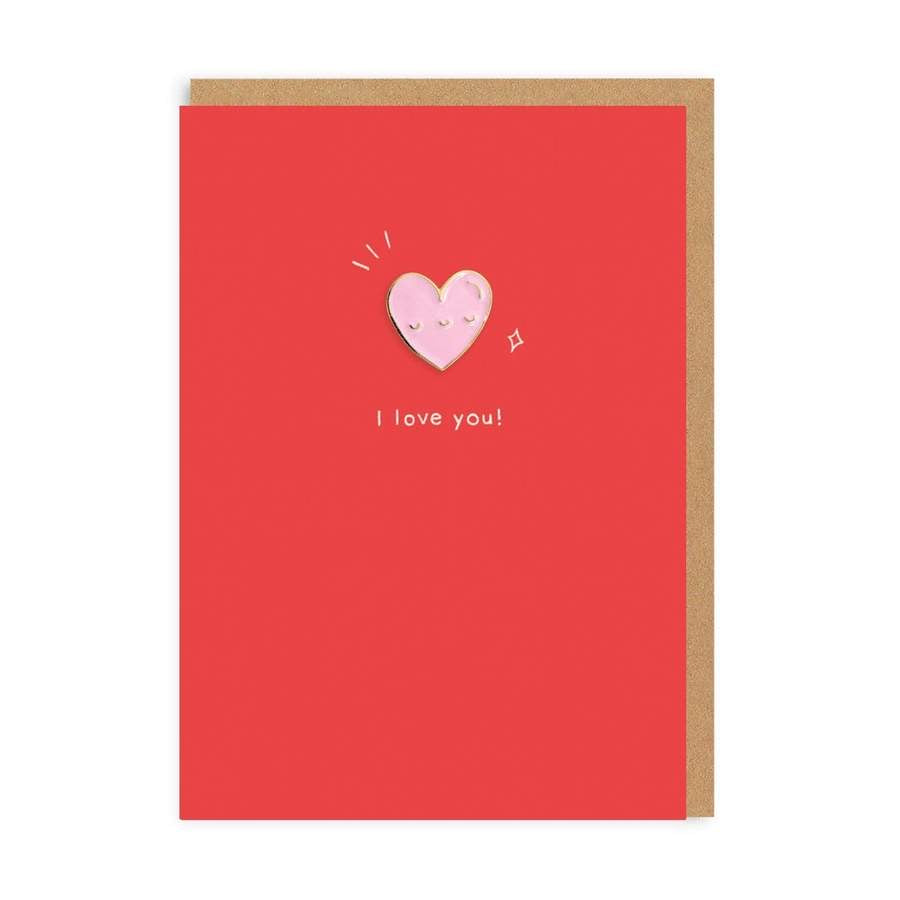 I Love you! Heart Pin Card