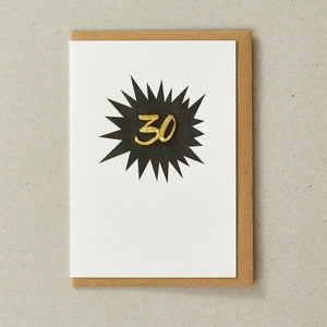 Embroidered Age Card - Age 30 (Black)
