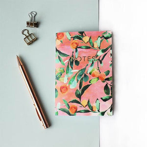 Orange Tree with Gold Foil 'NOTES' A6 Notebook