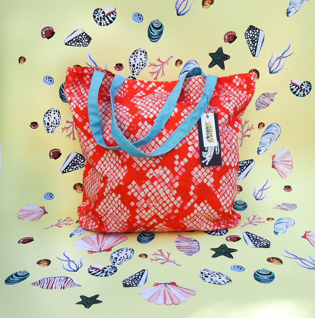 Pink and Red Snakeskin Tote Bag