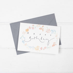'Happy Birthday' Floral Watercolour Hand Lettering Card.
